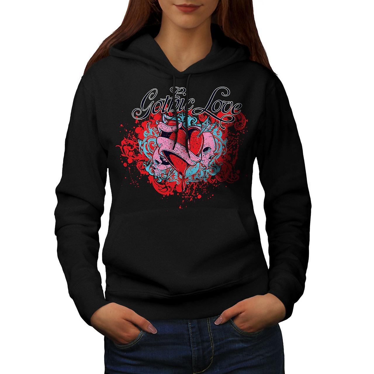 Gothic Love Heart Skull Women BlackHoodie | Wellcoda