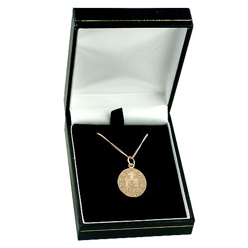 9ct Rose Gold 20x16mm Miraculous medal with curb chain