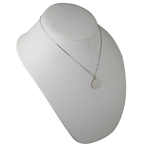 9ct White Gold 20mm round plain Disc with a curb Chain 18 inches