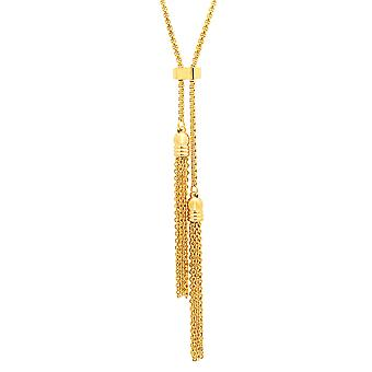 Ladies 18K Gold Plated Stainless Steel Double Tassel Necklace
