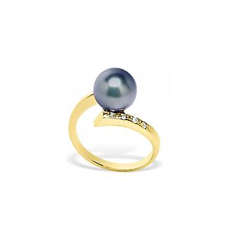 Kultur Black Pearl, Diamond Ring und gelb gold 375/1000