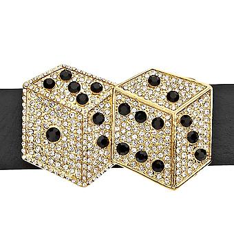 Iced out bling belt - DOUBLE DICE gold