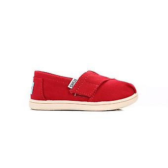 TOMS Infant Red Canvas Tiny Classic Espadrilles