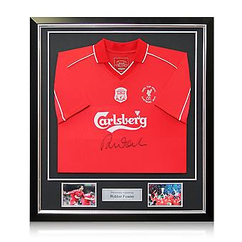 Robbie Fowler Front Signed 2001 Liverpool Shirt With Commemorative Embroidery. In Deluxe Black Frame With Silver Inlay