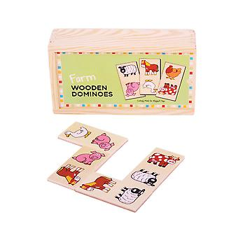Bigjigs Toys Wooden Traditional Farm Dominoes Game Play Set