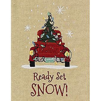 Klar sæt sne gamle røde Pickup Truck og juletræ broderet køkkenrulle
