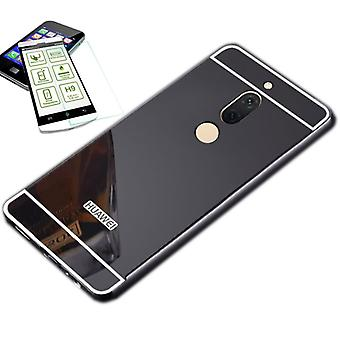 Mirror / Mirror aluminium bumper 2-piece black + 0.3 mm H9 tempered glass for Huawei honor view 10 / V10