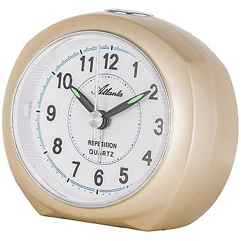 Atlanta 1593/9 alarm clock quartz analog golden quietly without ticking with light Snooze