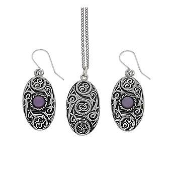 Handgemachte keltische Design ovale Zinn Kette Anhänger und Amethyst Mondstein Ohrringe Set
