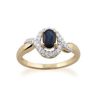 Gemondo 9ct oro giallo 0,63 ct Sapphire & anello di diamanti