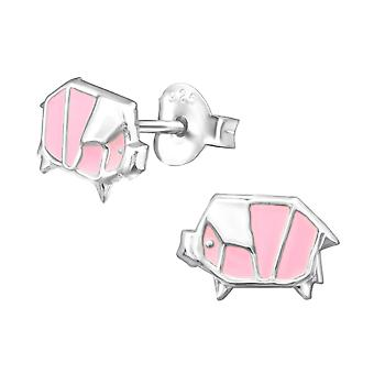 Origami Pig - 925 Sterling Silver Colourful Ear Studs