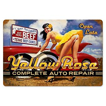 Yellow Rose Complete Auto Repair Rusted Metal Sign 460Mm X 300Mm
