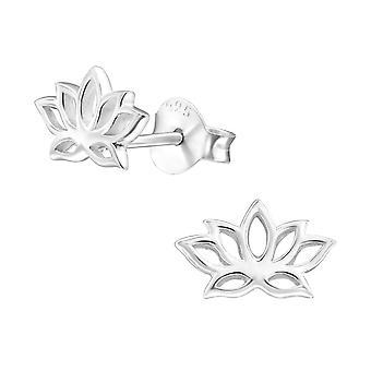 Lotus Flower - 925 Sterling Silver Plain Ear Studs - W31385x