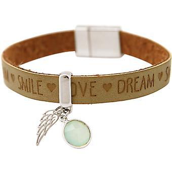 Gemshine - Damen - Armband - Engel - Flügel - 925 Silber - WISHES - Braun Sand - Chalcedon - Meeresgrün - Magnetverschluss