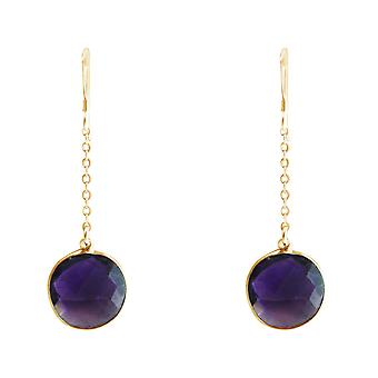 GEMSHINE ladies earrings made of high-quality gold-plated 925 Silver. 4.5 cm Yoga earrings with amethysts of excellent quality. Made in Madrid, Spain. In the elegant jewelry with gift box