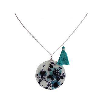 Damen - Halskette - Anhänger - Medaillon - Perlmutt - FLOWERS - 925 Silber - Schwarz - Blau - 5 cm