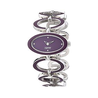 Elegant Circle Esprit Ladies Watch Purple Silver Jewellery Stones UK Seller + Warranty