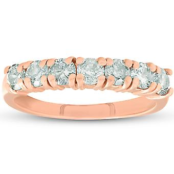 1ct diamants Or Rose mariage anniversaire Ring 14K