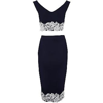 Ladies Celeb Navy Crochet Lace Stretch Bardot Top & Midi Skirt Two Piece Set