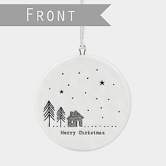 East of India Flat Porcelain Bauble MERRY CHRISTMAS Tree House