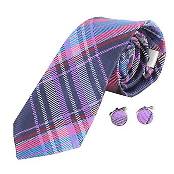 Knightsbridge Neckwear Check Tie and Cufflinks Set - Pink/Purple/Blue
