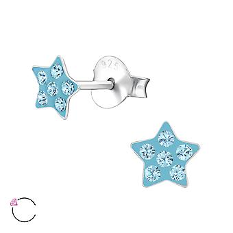 Star - 925 Sterling Silver Crystal Ear Studs - W24695X