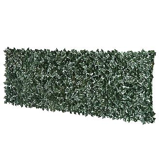 Outsunny Artificial Leaf Screen Fence Garden Panel Privacy Hedge 3(m) x 1M Dark Green