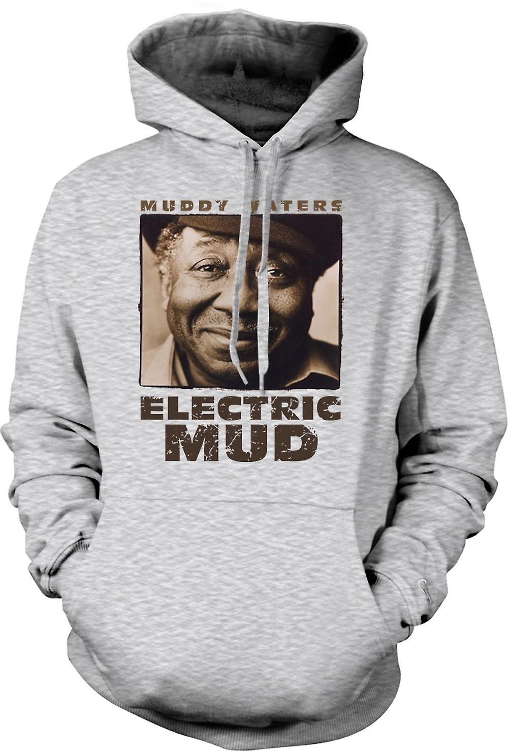 Mens Hoodie - Muddy Waters elektriska leran Blues - gitarr - ikonen