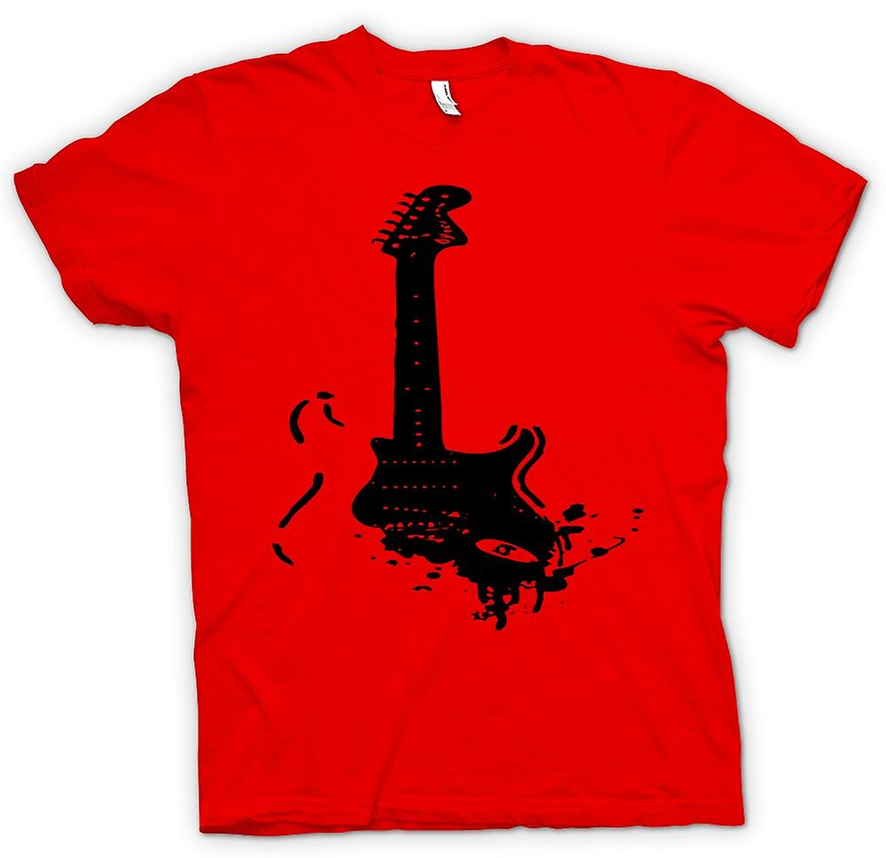 Mens T-shirt - Fender Strat - popkonst - Guitar Music