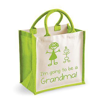 Bolsa de yute verde medio voy a ser una abuela