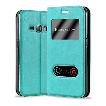 Cadorabo Hülle für Samsung Galaxy J1 2016 Case Cover - Handyhülle mit Magnetverschluss, Standfunktion und 2 Sichtfenstern – Case Cover Schutzhülle Etui Tasche Book Klapp Style