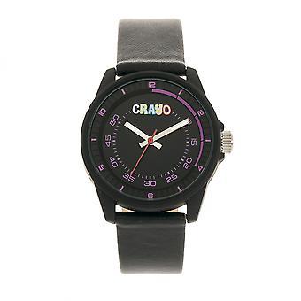 Crayo Ruck Kunstleder Armbanduhr - schwarz