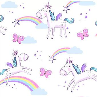 Unicorns Wallpaper  Butterflies Rainbow Stars Girls Bedroom fun4walls