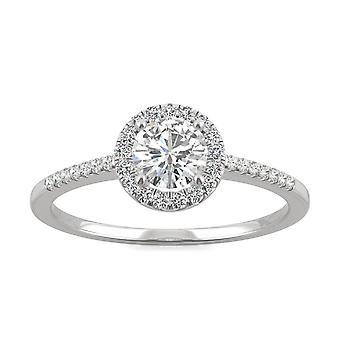 14K White Gold Moissanite by Charles & Colvard 5mm Round Engagement Ring, 0.66cttw DEW