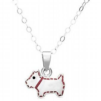 Jo For Girls Sterling Silver Scottie Dog Pink Enamel Pendant on 14 Inch Chain