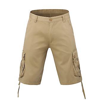 Allthemen menns korte bukser bomull casual store lommer shorts