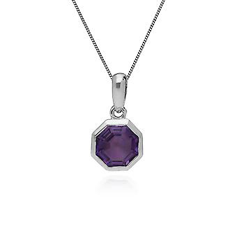 Gemondo Sterling Silver Amethyst February Octagon Pendants with 45cm Chain