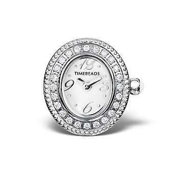 Timebeads witte ovale horloge charme met CZ en schroefbevestiging TB1002CZWH
