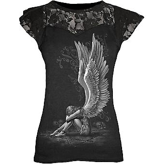 Spiral - enslaved angel women's lace layered cap sleeve top black
