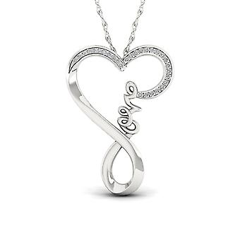 IGI Certified S925 Silver 0.07ct TDW Diamond Twisted Heart Love Necklace