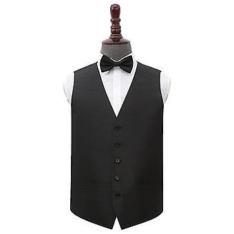 Black Plain Shantung casamento colete & amp; Conjunto de gravata borboleta