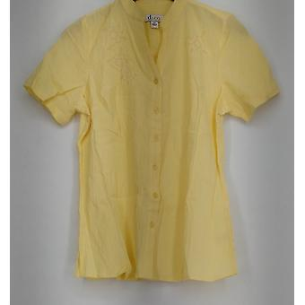 Denim & Co. Embroidered Short Sleeve Button Down Shirt Yellow Top A215012