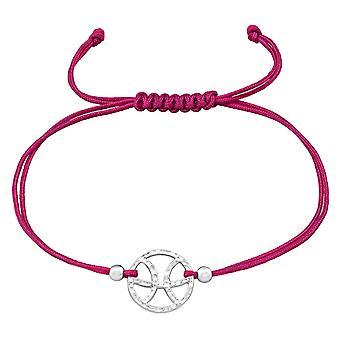 Pisces Zodiac Sign - 925 Sterling Silver + Nylon Cord Corded Bracelets - W39011X
