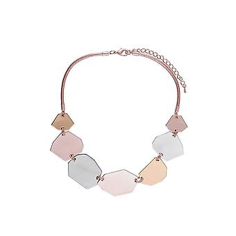 Fable Womens/Ladies Geometric Statement Leather Necklace