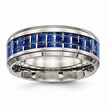 8mm titane poli anneau incrusté de fibre de carbone blanc bleu - taille: 7 à 13