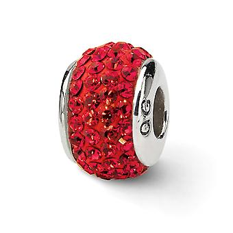 925 Sterling Silver Polished Reflections Red Full Crystal Bead Charm