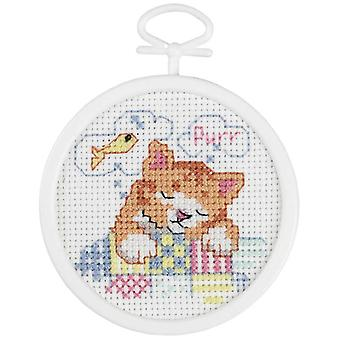 Dreaming Kitty Mini Counted Cross Stitch Kit 2 1 2