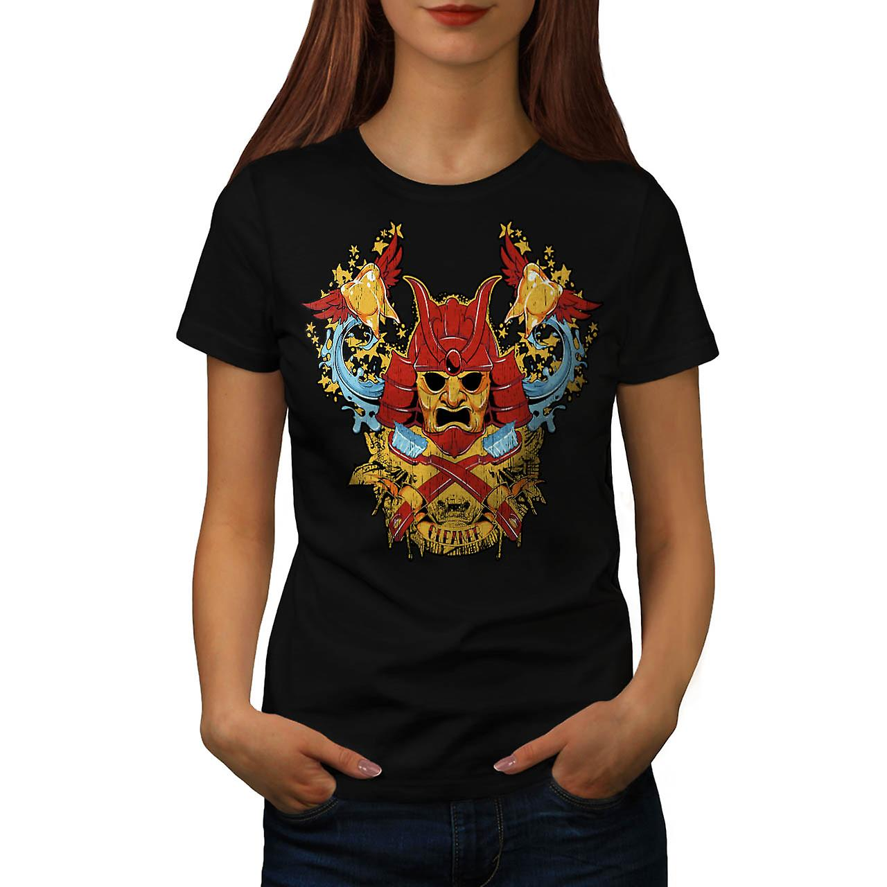 Teeth Cleaner Samurai Warrior Women Black T-shirt | Wellcoda