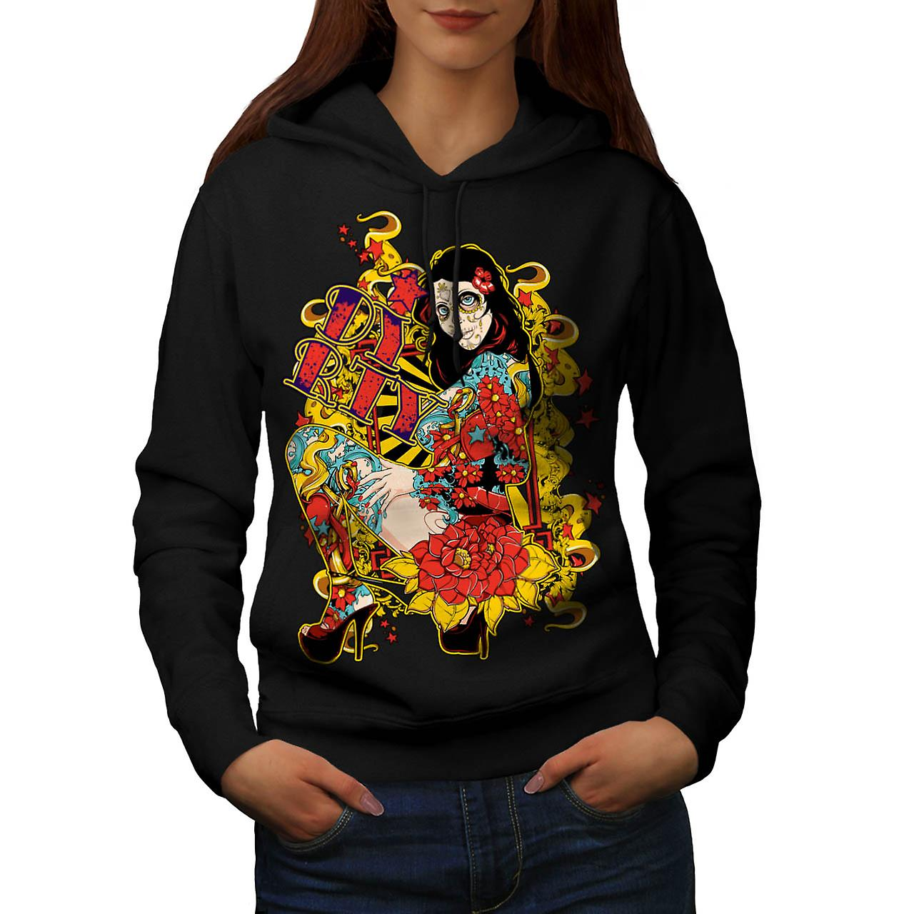 Dirty Sugar Rose Skull Women Black Hoodie | Wellcoda