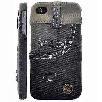 Leather covered with blue jeans (black)-iPhone 4/4S